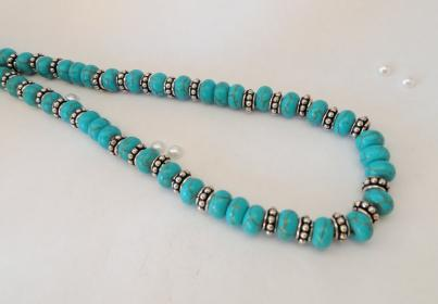Adjustable Turquoise and Silver Necklace, matching bracelet available.