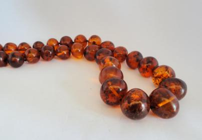 "Chunky 20"" Graduated Natural Baltic Amber Bead Necklace ."