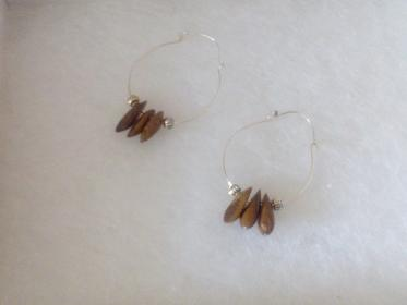 Wooden drop hoop earrings