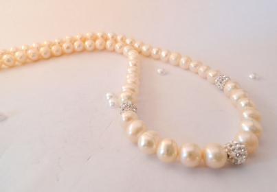 "Freshwater Pearl and Crystal Bead 18""  Necklace ."