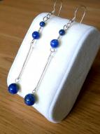 Sterling Silver and Lapis Extra Long Drop Earrings