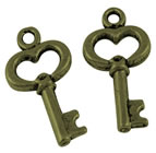 Antique Bronze Heart Key Charms